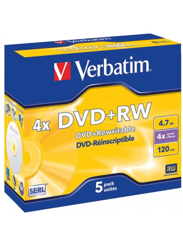 VERBATIM - 4.7GB DVD+RW (4X) - (BOX OF 5)