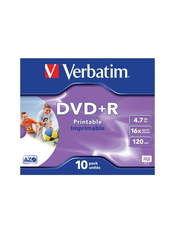 VERBATIM - 4.7GB DVD+R (16X) - PRINTABLE JEWEL CASE (PACK OF 10)