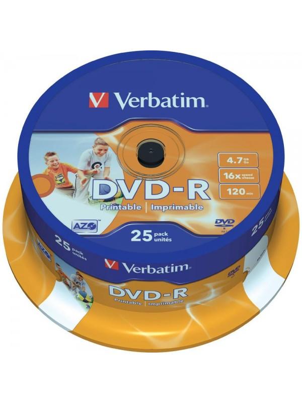 VERBATIM - 4.7GB DVD-R (16X) - PRINTABLE SPINDLE (BOX OF 25)