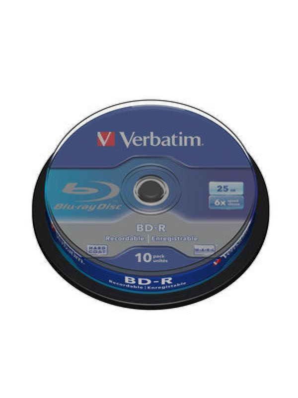 VERBATIM - 25GB BLU RAY BD-R SL (6X) SPINDLE (PACK OF 10)