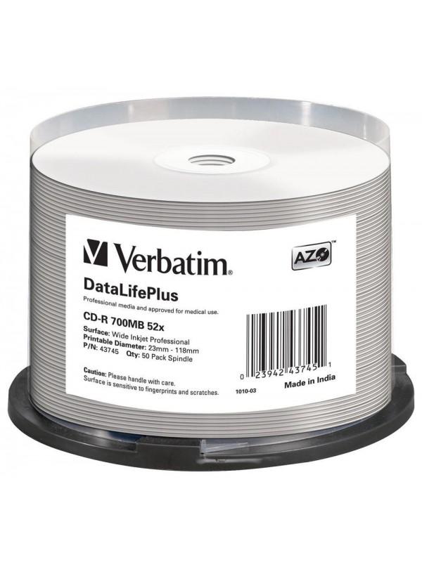 VERBATIM - 700MB - CD-R (52X) - PROFESSIONAL WIDE PRINTABLE SPINDLE - (PACK OF 50)