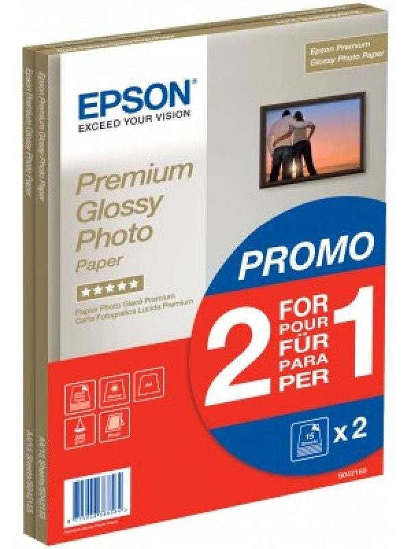EPSON - PREMIUM GLOSSY PHOTO PAPER - A4 - 2x 15 Sheets