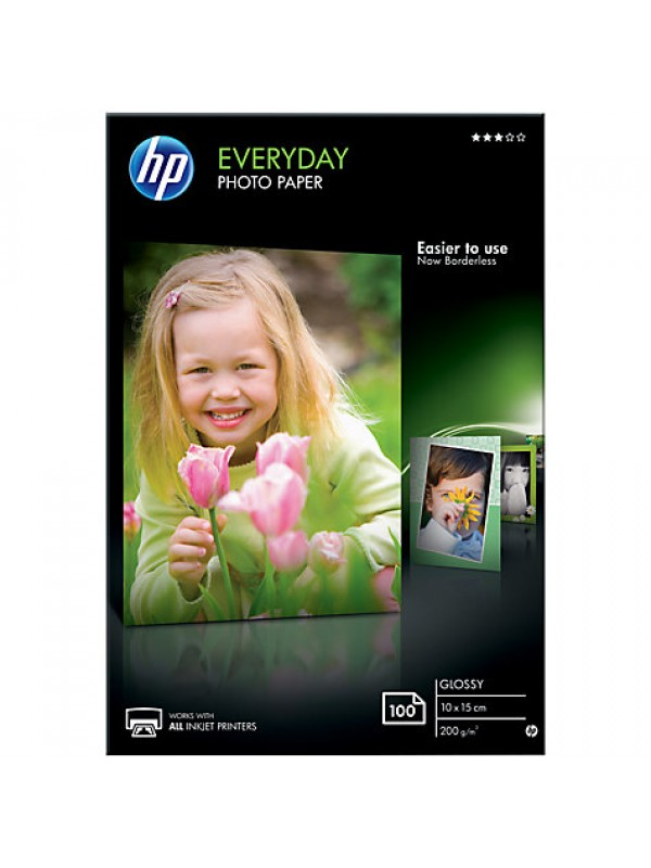 HP EVERYDAY GLOSSY PHOTO PAPER-100 SHT/10 X 15 CM - NEW REPLACES THE Q5441A