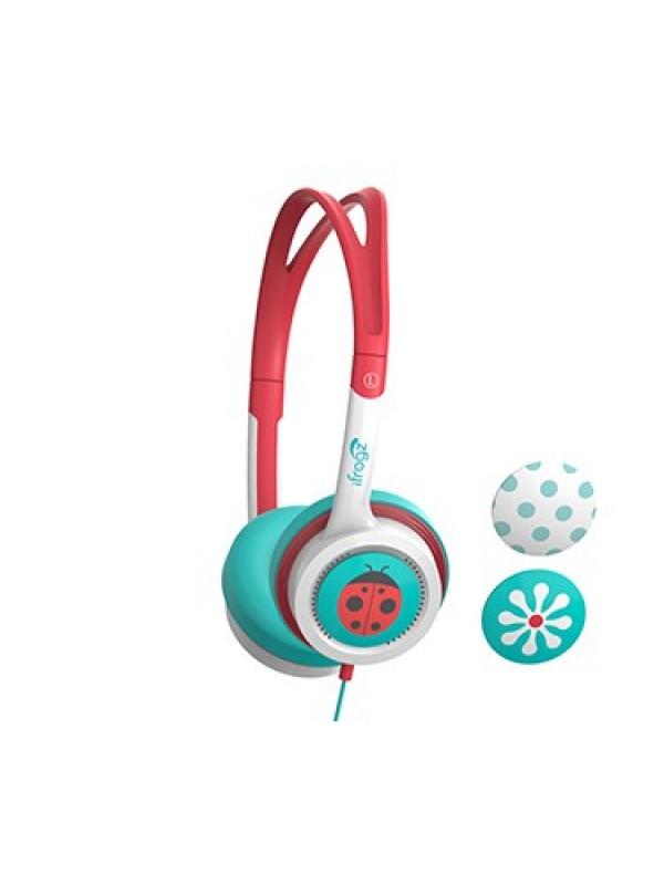 ZAGG LITTLE ROCKERZ HEADPHONES - TEAL AND CORAL FLOWER/LADYBUG/DOTS