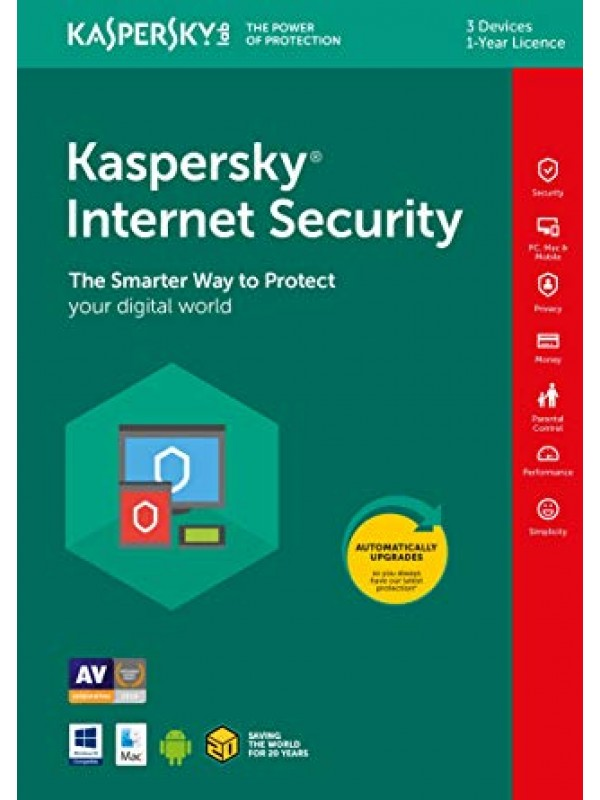 Kaspersky Internet Security 2019 3+1 free device 1 year DVD