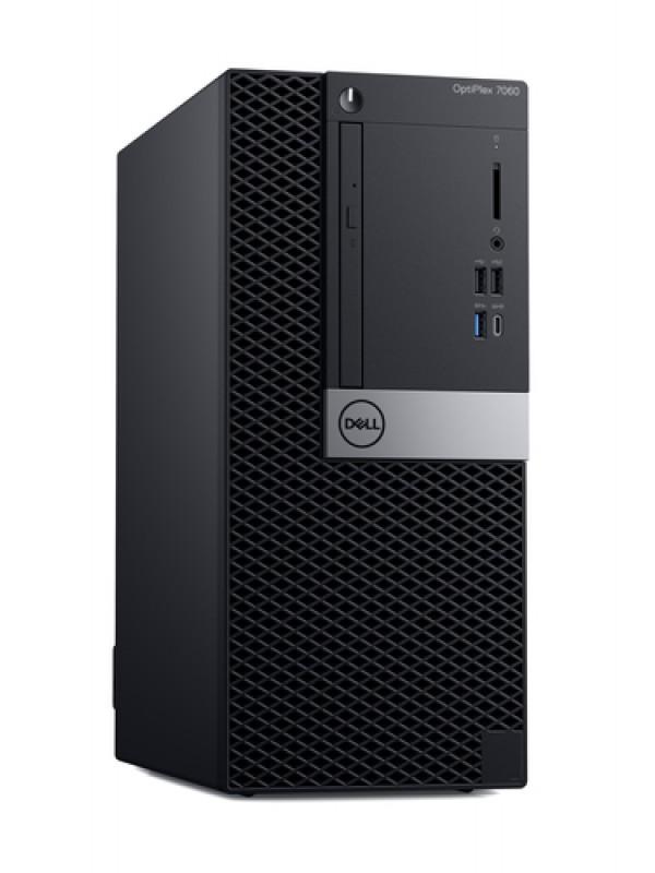 OptiPlex 7060 MT: Intel Core i7-8700 vPro (4.6GHz 12B) 8GB (2x4GB) DDR4 2666MHz 256GB SSD Drive 16 x DVD +/- RW USB Keyboard and Mouse Windows 10 Professional 3Yr Basic Onsite Service