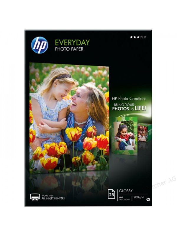 HP EVERYDAY GLOSSY PHOTO PAPER 200 G/M -25 SHT/A4/210 X 297 MM