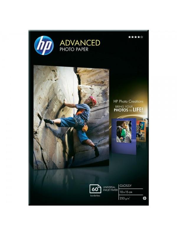 HP ADVANCED GLOSSY PHOTO PAPER 250 G/M -60 SHT/10 X 15 CM BORDERLESS