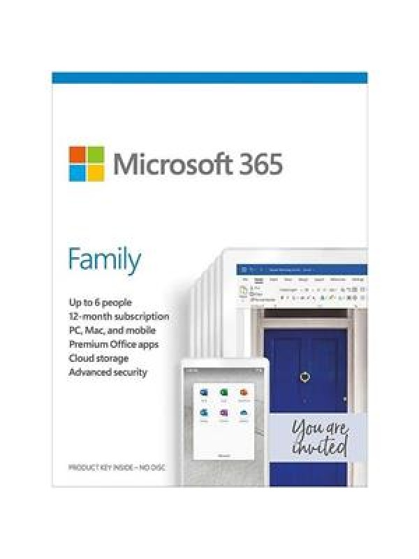 Microsoft 365 Family (Medialess. 1 Yr Subscription)